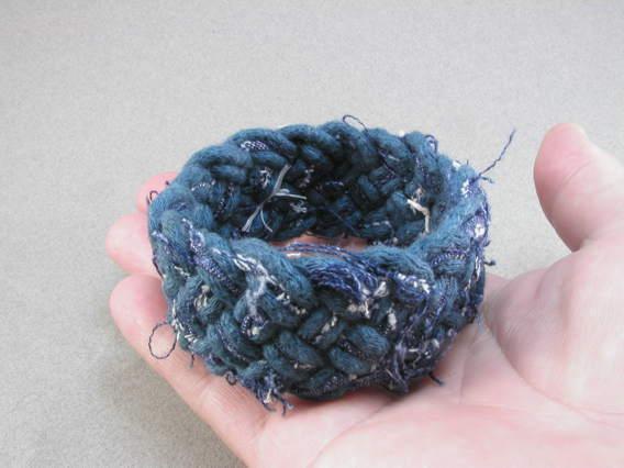 Denim fabric turks head bracelet Global Genes project fundraiser 1696