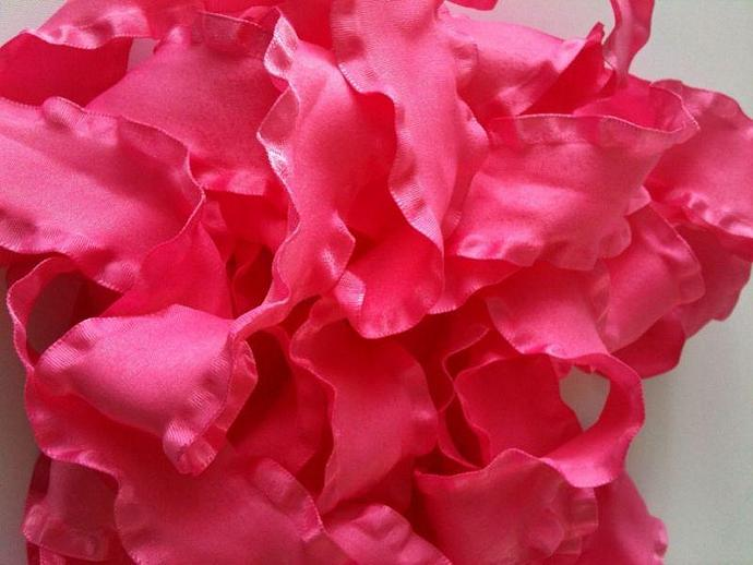 5 yards of 1.5 inch Double Ruffle Ribbon - HOT PINK --- ZIBBET