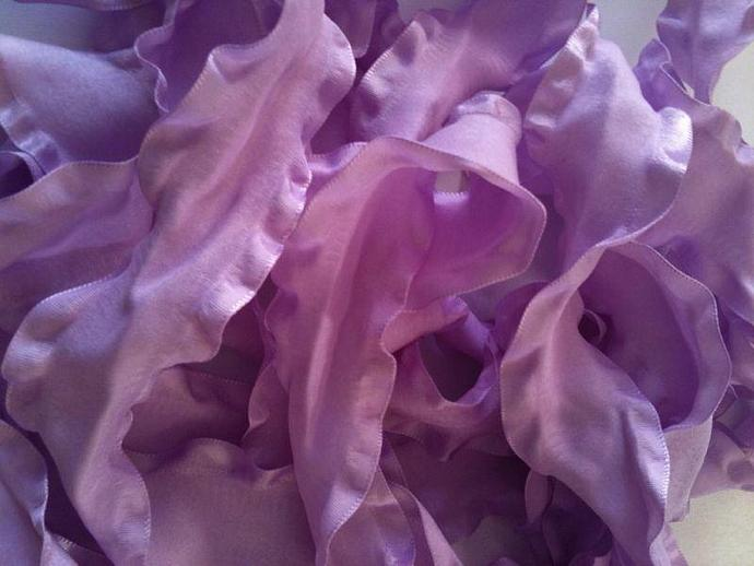 5 yards of 1.5 inch Double Ruffle Ribbon - LIGHT ORCHID --- ZIBBET
