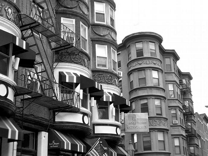 Urban black and white photography boston row house