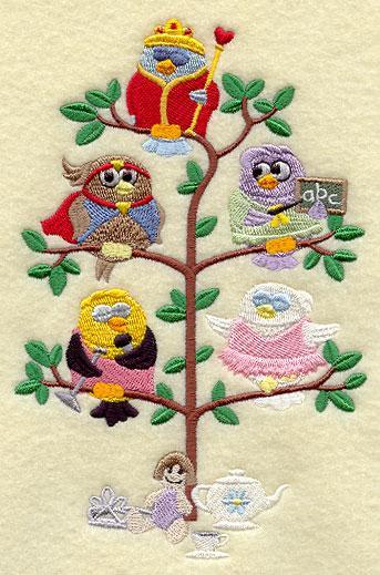 When I Grow  Up (Girl) Birds in a Tree (Tweet) Embroidered Quilt Block Square