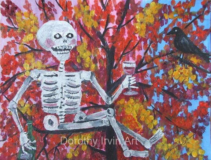 Up an Autumn Tree with Wine Art Print