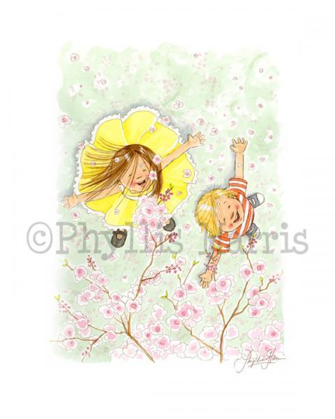 Children's Wall Art Print - Spring shower of pink petals - Children's room
