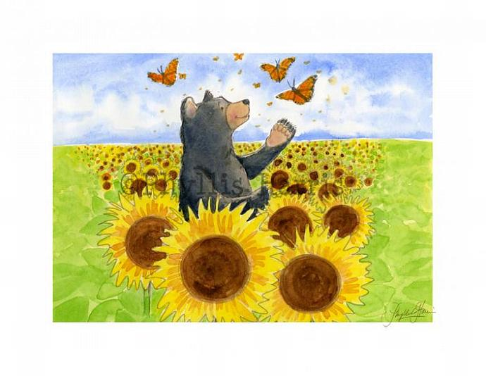 Wall Art Print - Fall Bears and Butterflies - room art decor