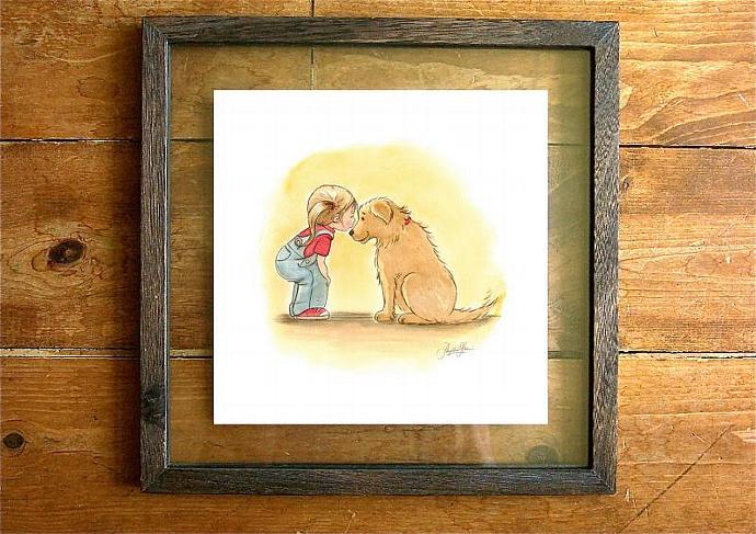 Children's Wall Art Print - Golden Retriever and little girl: First Love -