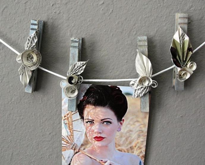 Paper Roses Embellished Clothespins set of 5