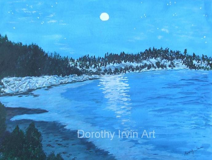 Twilight Reflections in Blue Moonrise Art Print