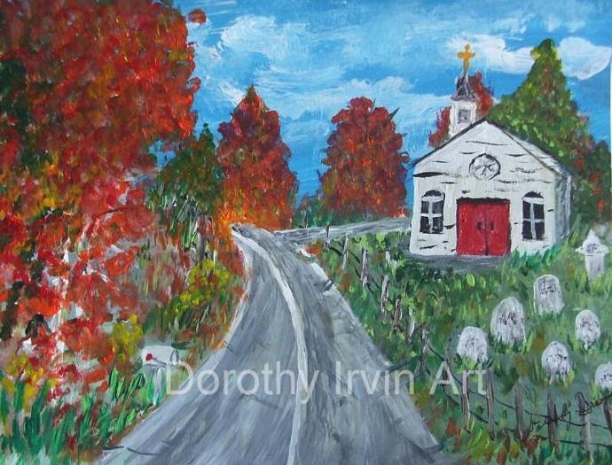 Road Past a Quaint Church Cemetery Art Print