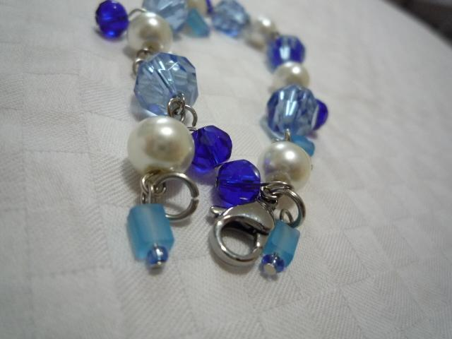 Blue Ice Crystal Bracelet - stainless steel clasp and wire