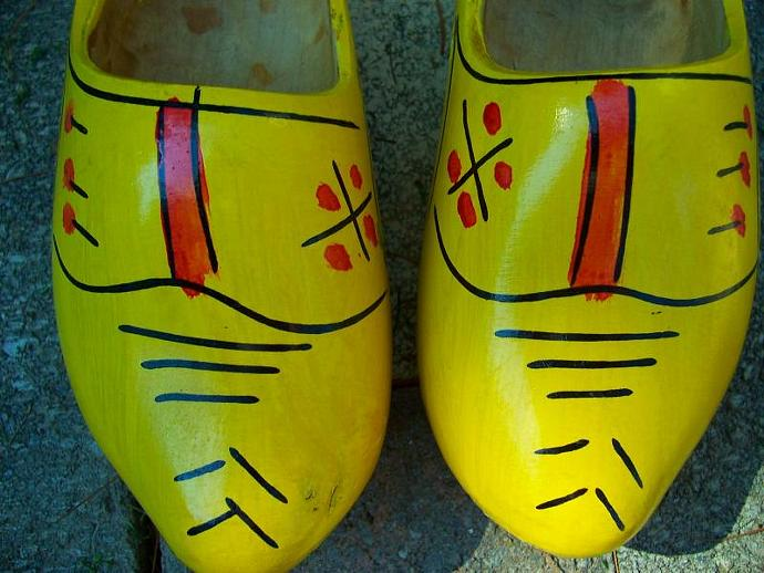 Dutch Yellow Wooden Shoes