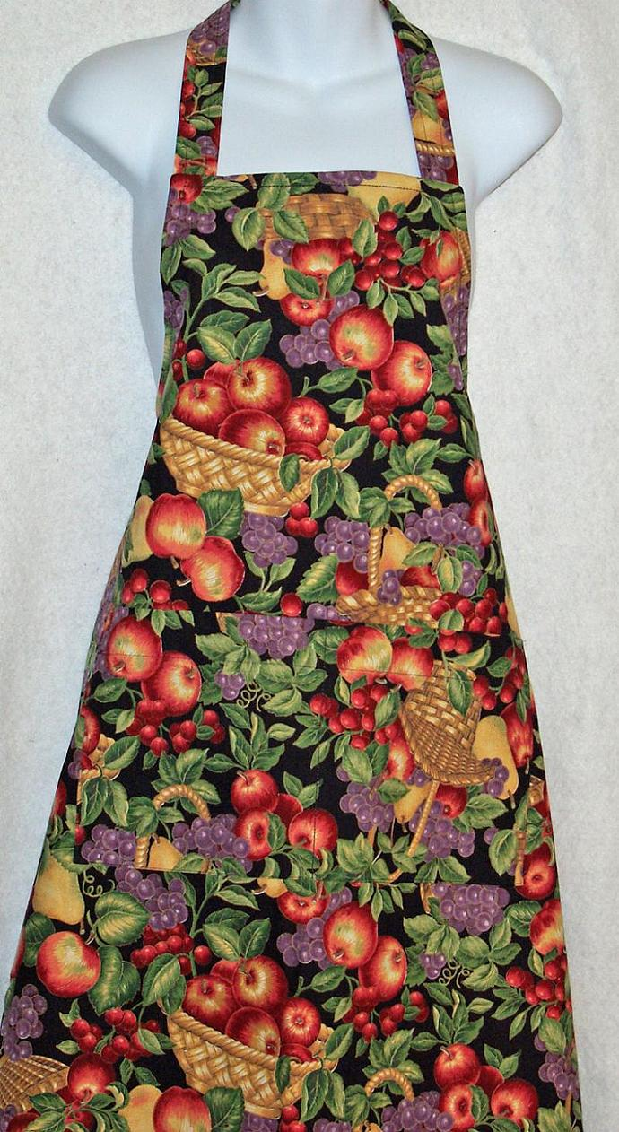 Red Apples and Grapes Apron