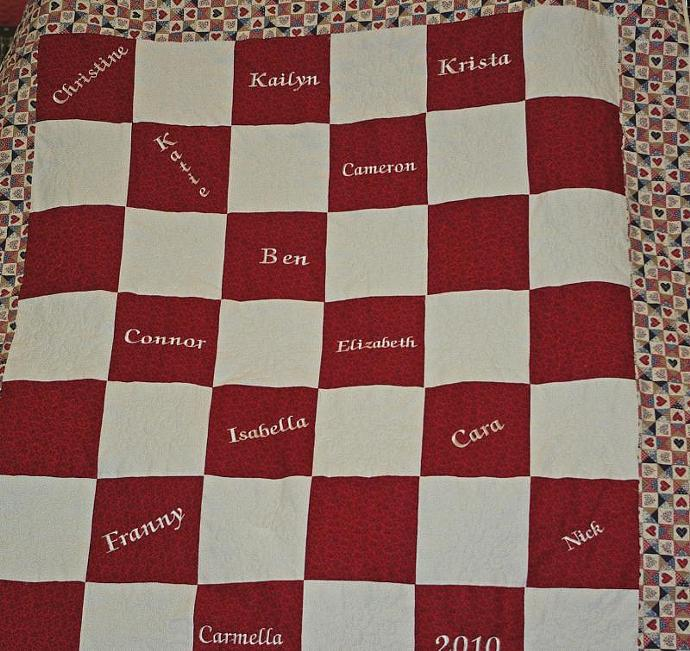 Red and White Checkers Quilt