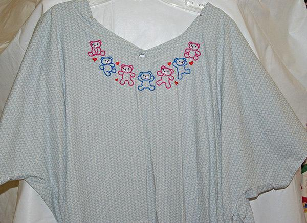 Embroidered Blue Hospital Gown