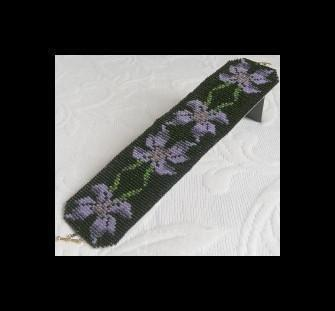 2 Peyote Bead Patterns for Violets Cuff Bracelets - 2 For The Price Of 1