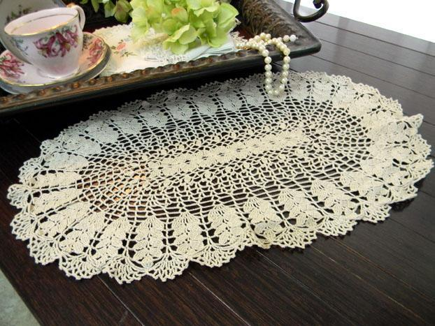 Crochet Oval Doily In A Medium Ecru By Vintagekeepsakes On Zibbet