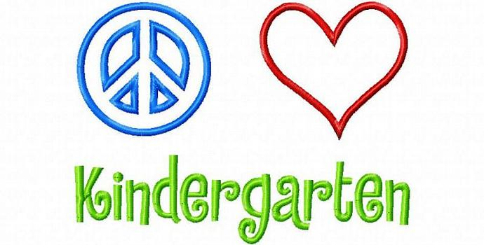 Peace Love Kindergarten Applique Design Machine Embroidery Design