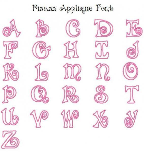 Pizazz Font 4x4 and 5x7 Applique Machine Embroidery Design