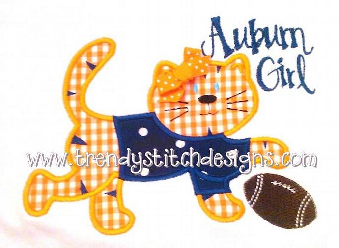 Tiger with Football Applique Machine Embroidery Design