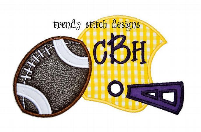Helmet and Football Applique Design Machine Embroidery Design