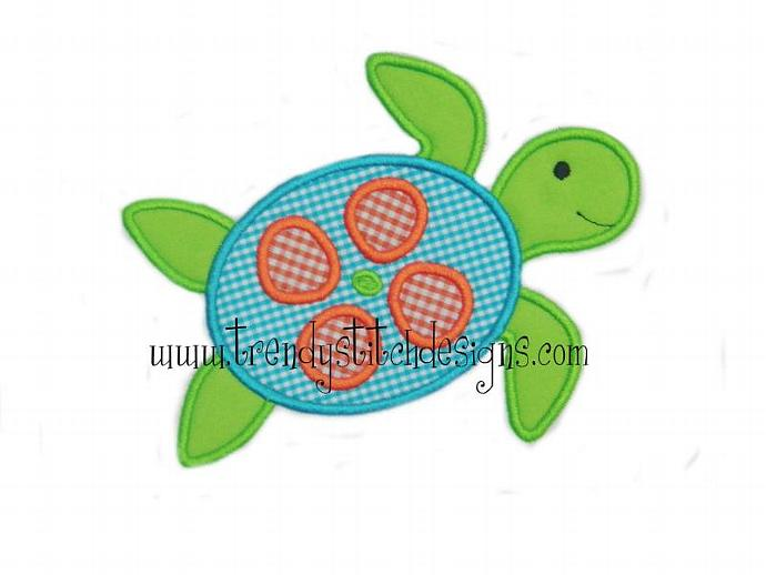Sea Turtle Applique Machine Embroidery Design