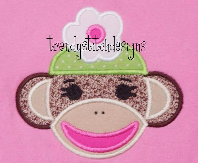Sock Monkey Girl Applique Machine Embroidery Design
