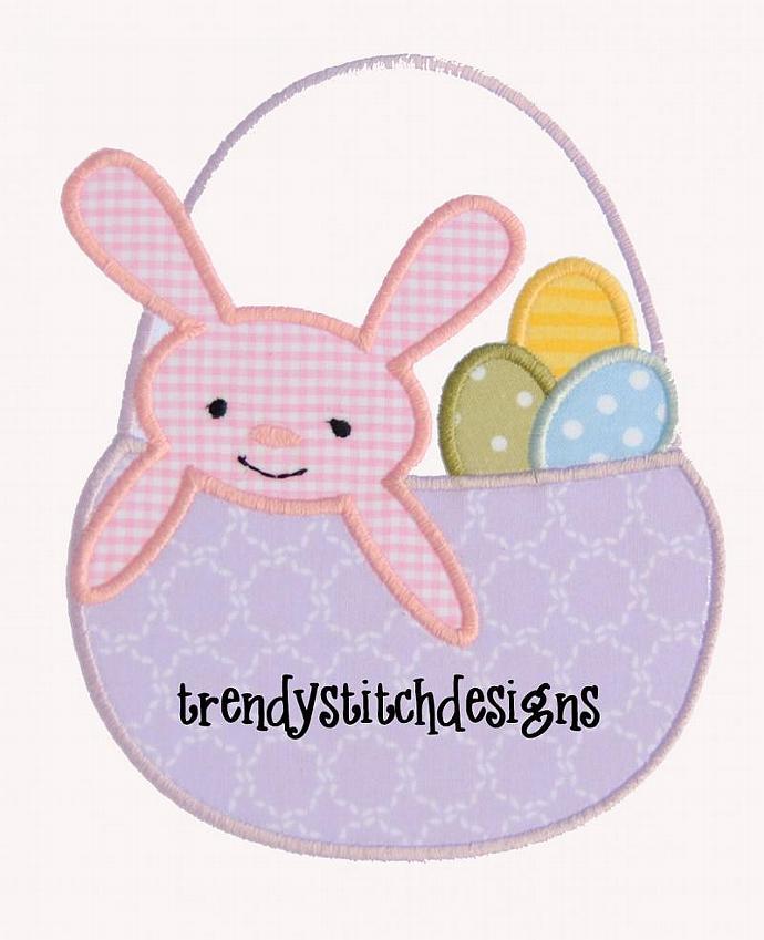 Easter Basket Applique Machine Embroidery Design