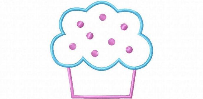 Cupcake 4 Applique Machine Embroidery Design
