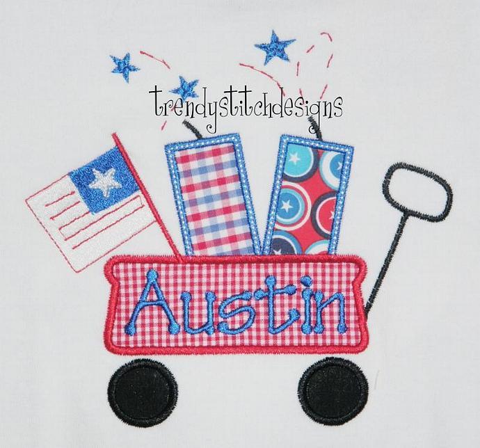 Wagon Fireworks Flag applique Machine Embroidery Design
