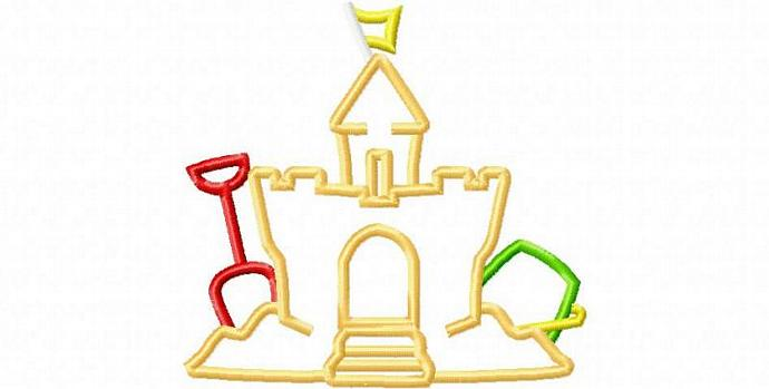 Sand Castle 2 Applique Design Machine Embroidery Design