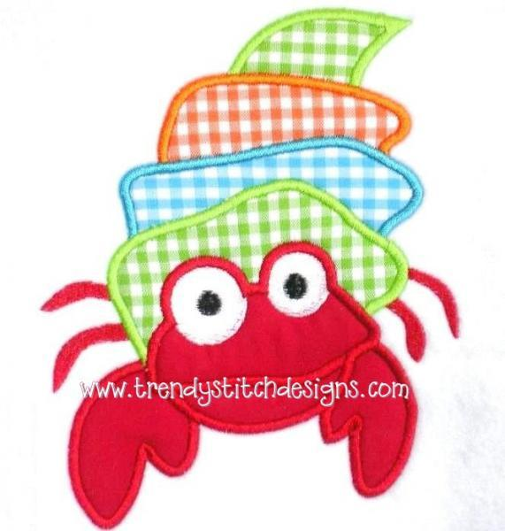 Silly Crab Applique Design Machine Embroidery Design
