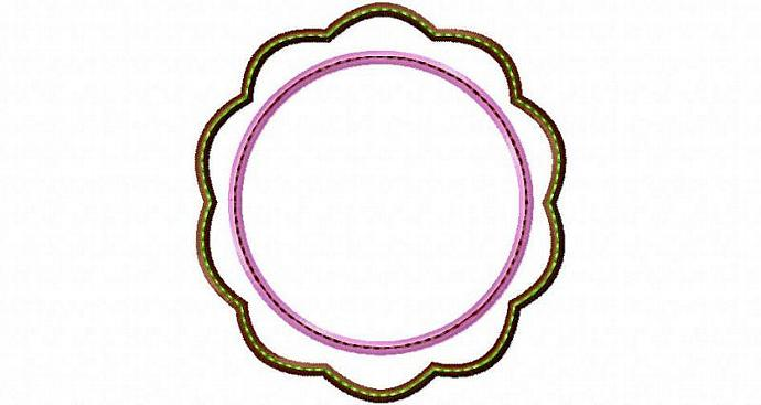 Flower Patch Frame Applique Machine Embroidery Design