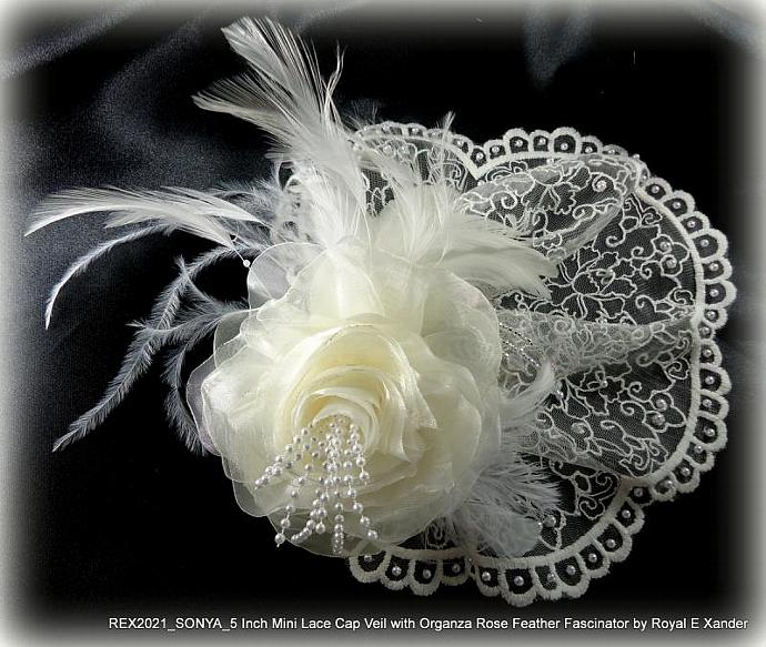 5 Inch Ivory Lace Mini Cap Veil Adorned with Pearls Detachable Organza Rose