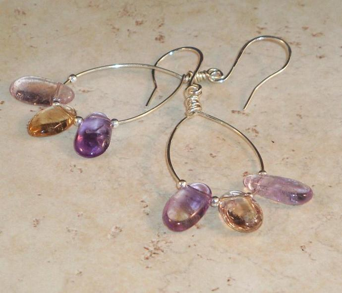 Ametrine Oval Drop Earrings
