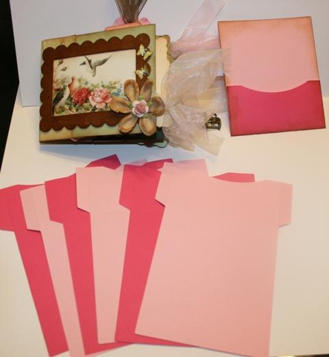 Pink and hot pink short front library pockets for your scrapbooks and mini