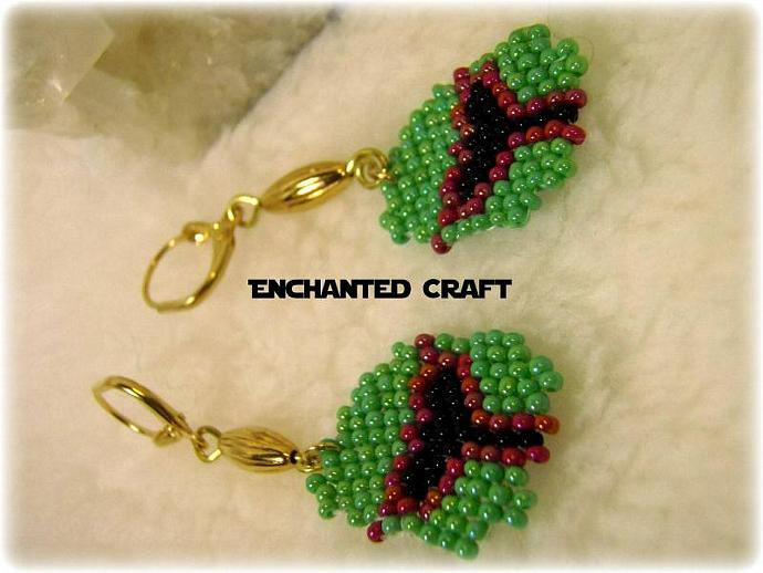 Star Wars Seed bead Boba Fett earrings- lever back