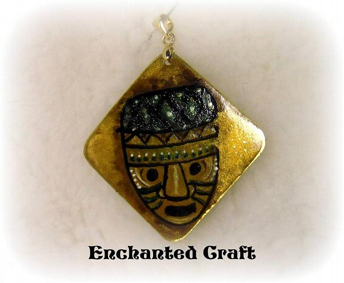 Hand Painted Tribal Mask pendant