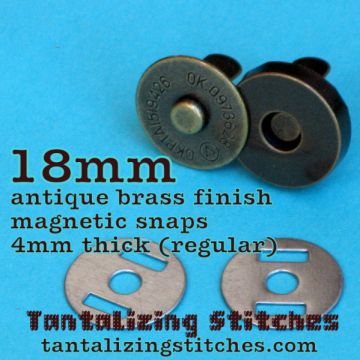 36 Antique Brass 18mm Magnetic Snaps - 4mm thick