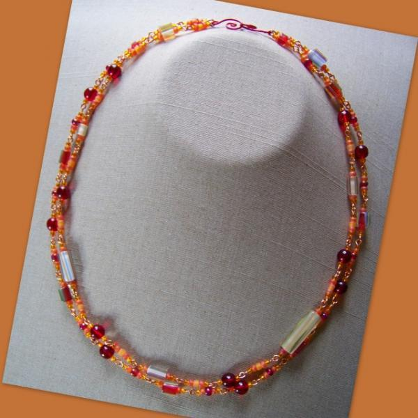 Red Citrus Cane Double Necklace