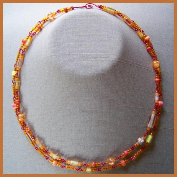 Citrus Cane and Crackle Double Necklace