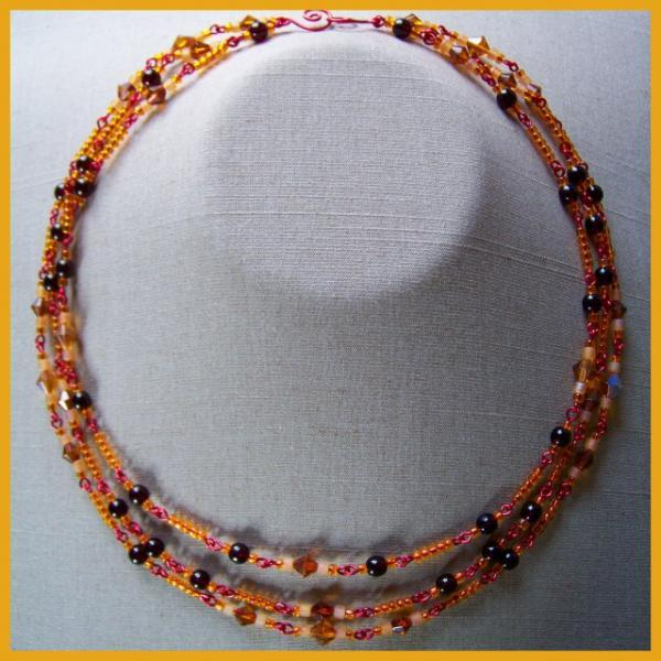 Amber Garnet Diamond Triple  Necklace