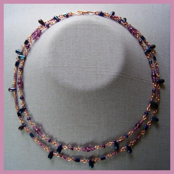Purple Copper Peacock Double Necklace
