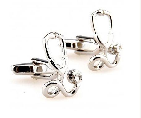 Silver Stethoscope Cufflinks
