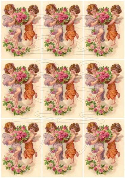 Shabby chic Cherubs and pastoral scene  digital collage sheets for scrapbook and