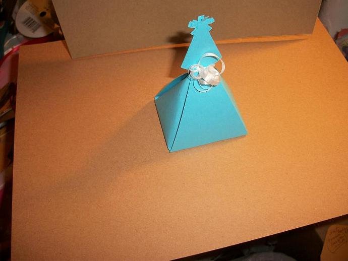 Blue Party Hat Topped Party Favor Box / 10ct