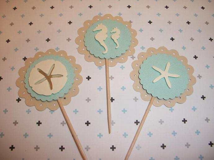 Beach Themed Wedding Shower Birthday Cupcake By Emanon On Zibbet