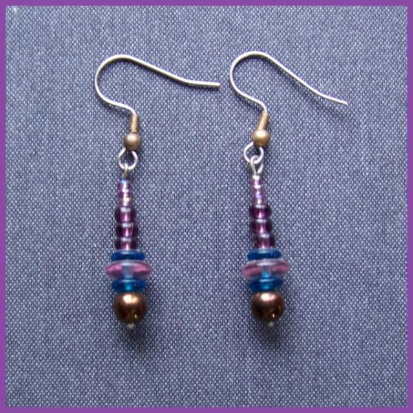 Purple Bronze and Blue Spindle Earrings