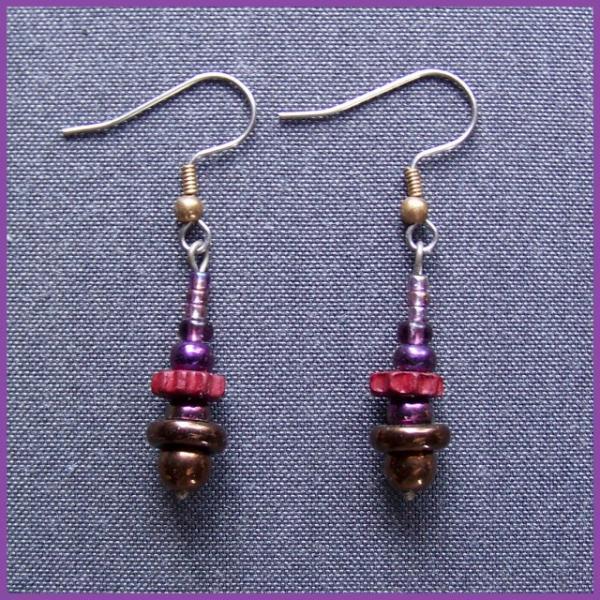 Grape Bronze Spindle Earrings
