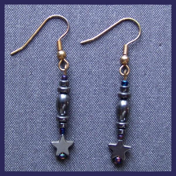 Hematite Star Spindle Earrings