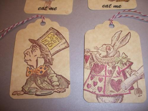 YOU PICK DESIGN / 6ct hang tags / Mad Hatter or Rabbit / sale