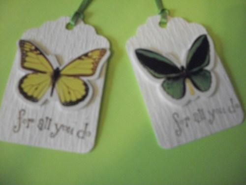 6ct set Butterfly assortment Hang tags / stamped / for all you do